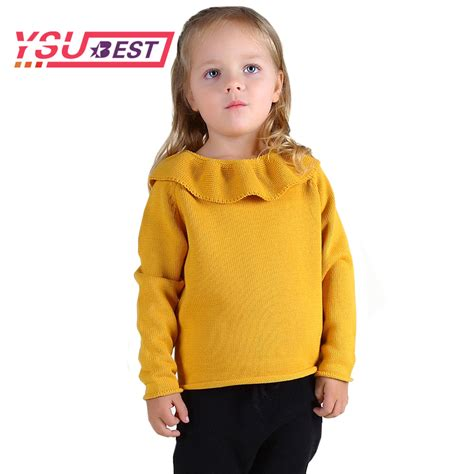 Ribbon Sweety Sweater Blouse Atasan Jaket lotus leaf collar sweater 2017 children sweater shirt yellow knitted sweater sweet