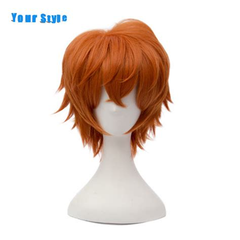 short ginger male wig your style short orange curly cosplay wigs synthetic