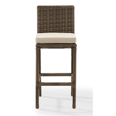 crosley bradenton outdoor wicker bar stool with cushion
