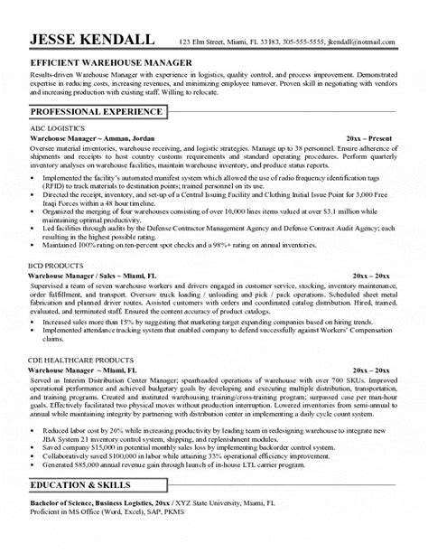 free warehouse manager resume sles warehouse manager resume