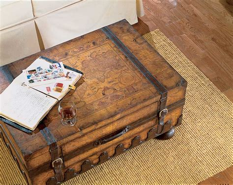 map trunk table vintage map style steamer storage trunk coffee