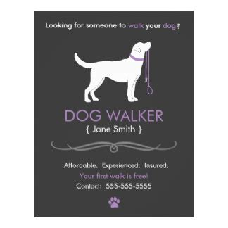 dog walking flyers amp programs zazzle