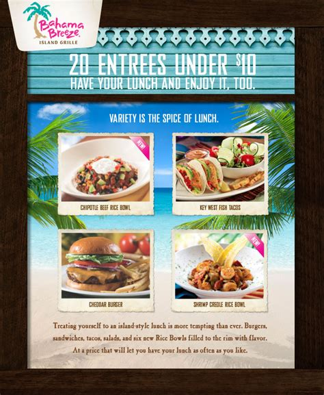 bahama breeze coupons printable bahama breeze 20 lunch entrees under 10 who said