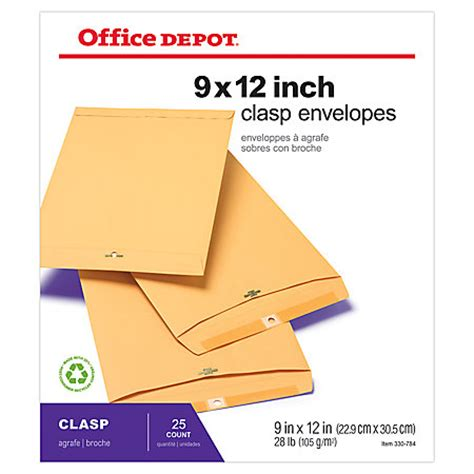 Office Depot Brand Clasp Envelopes 9 X 12 Brown Pack Of 25 By Office Depot Officemax 12x9 Envelope Template