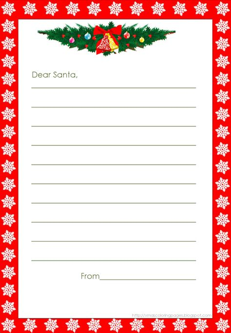 printable template to write a letter to santa xmas coloring pages