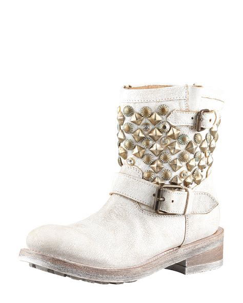 white biker boots lyst ash titanic studded motorcycle boot white in white