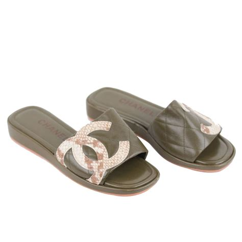 Fashion Shoes By Chanel chanel green leather cambon slides flat shoes sandals cc logo 35 1 2 it for sale at 1stdibs