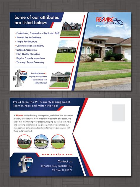 infinity property management modern professional postcard design for re max infinity
