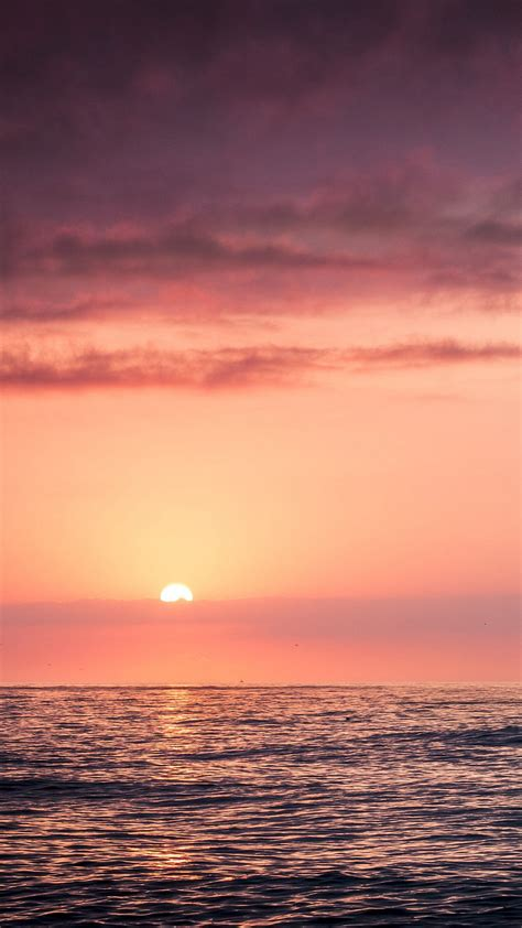 sunset sea beach sky red iphone wallpaper