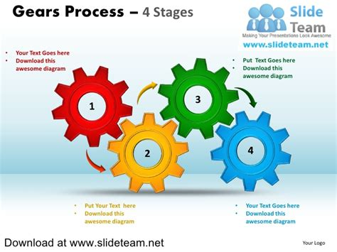 powerpoint template gears and wrenches over yellow interconnected gear pieces smart arts process 4 stages