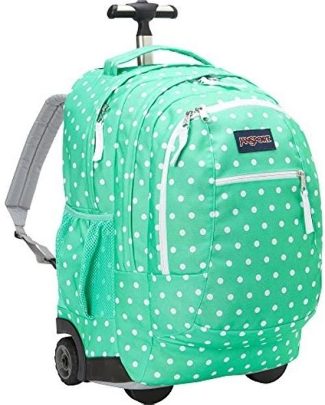 jansport driver 8 rolling backpack with wheels seafoam green white dots ebay