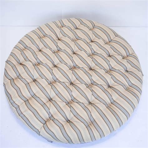 Large Round Tufted Ottoman With Striped Upholstery At 1stdibs Striped Ottoman