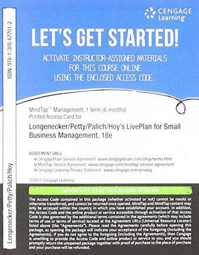 Small Business Management 18ed isbn 9781305677012 mindtap management with live plan 1 term 6 months printed access card