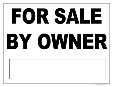 for sale by owner sign template printable for sale by owner sign