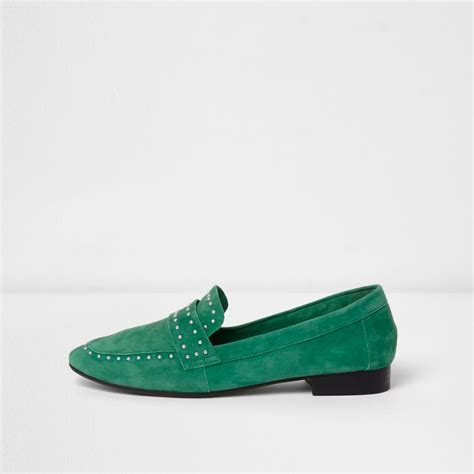 Studed Loafer Shoes green suede studded loafers shoes shoes boots