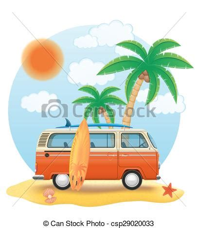 volkswagen with surfboard clipart vectors of retro minivan with a surfboard on the