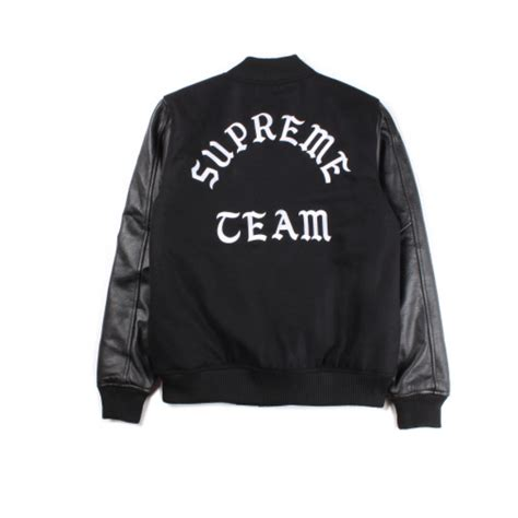 supreme team supreme team button up varsity jacket black