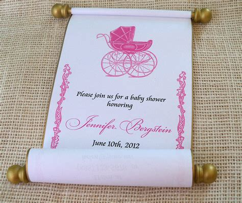 Scroll Baby Shower Invitations by Princess Baby Shower Invitation Scroll Pink By