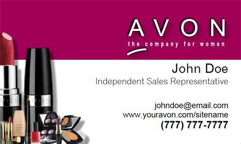 Avon 2 Sided Agent Business Cards Avon Business Card Template