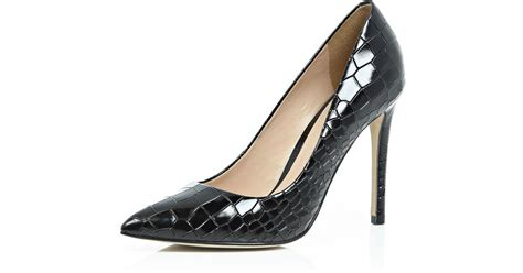 River Islands Patent Leather Cut Out Court by Lyst River Island Black Patent Leather Croc Court Shoes