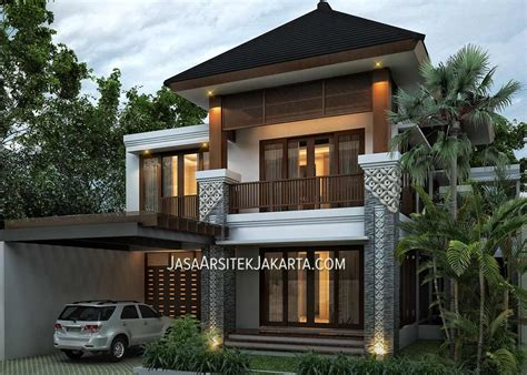 desain depan rumah bali desain rumah luas 420 m2 bu devi jakarta tak depan
