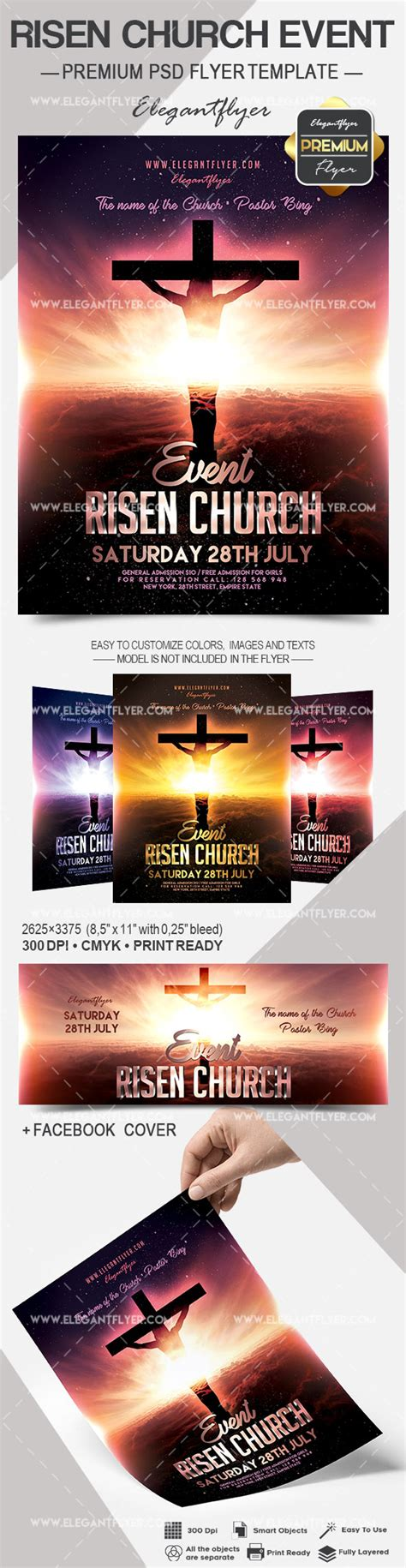 Risen Church Event Flyer Psd Template By Elegantflyer Church Event Flyer Templates