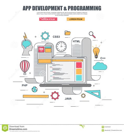 application design concepts thin line flat design concept for app development and