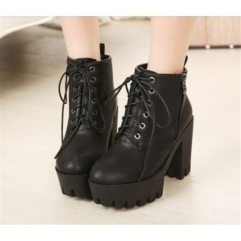 shoes boots heels black trendy zip platform