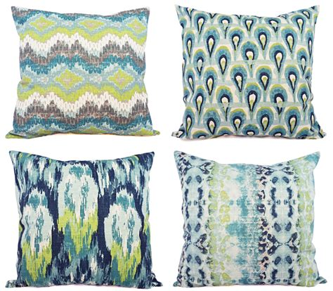 Ikat Pillow Cover by Blue Ikat Pillow Cover Blue And Green Ikat Pillow Cover