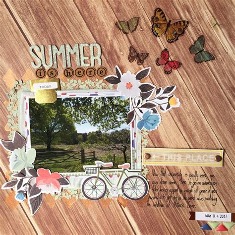 Challenge Use Themed Papers For Non Themed Layouts The Mad Cropper 3 2 2 by Emily Grant Design Summer Scrapbook Layout