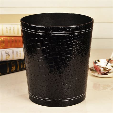 bedroom trash cans creative black crocodile grain leather trash can waste