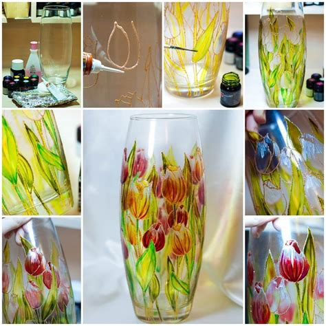 diy beautiful diy beautiful floral painted glass vase