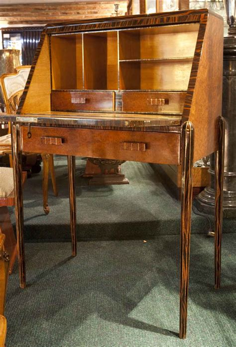 drop down secretary desk art deco drop down front secretary desk with marquetry