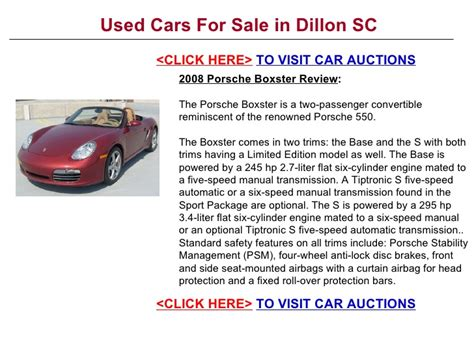 car engine repair manual 2008 porsche boxster security system used cars for sale in dillon sc
