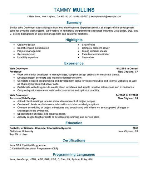 best web developer resume exle livecareer