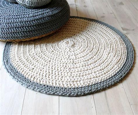 crochet floor rug rug floor crochet ecru and gray