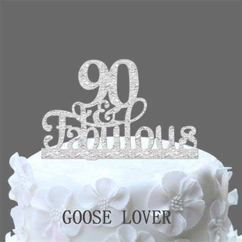 90th And Fabulous Cake Topper 90th Birthday Party