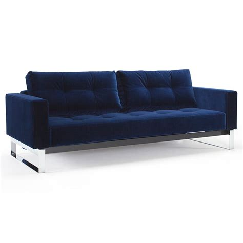 Cassius Blue Velvet Chrome Sleeper Eurway Modern