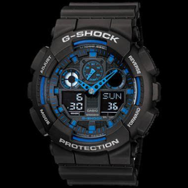 G Shock Ga 100 Black Blue Rubber casio g shock black blue large s buy g shock