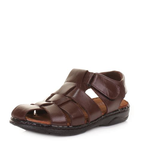 mens comfort sandals mens comfort fisherman real leather velcro summer sandals