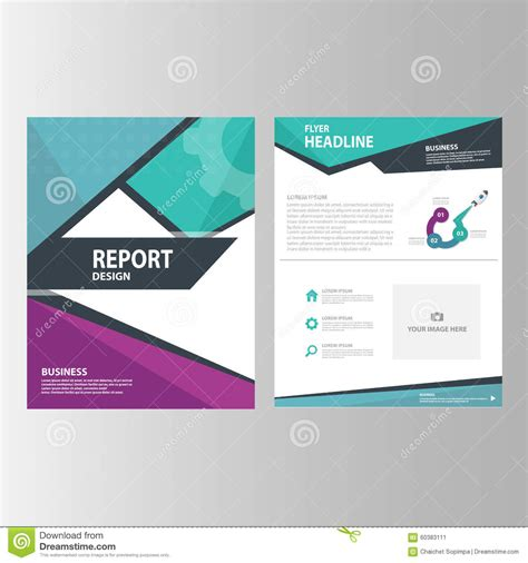 layout of a marketing report blue purple green annual report presentation template
