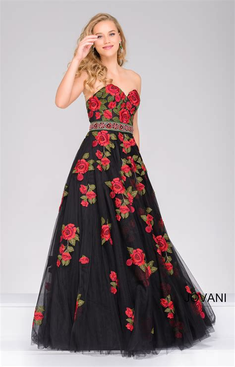 jovani  sweetheart strapless rose printed ball gown