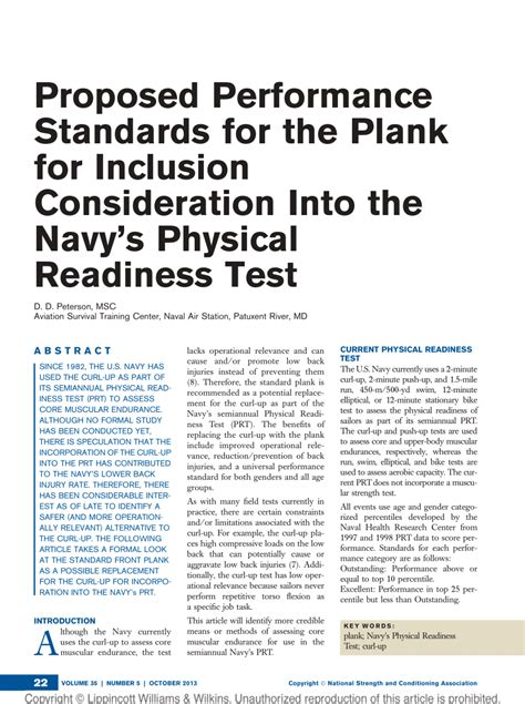 navy physical readiness proposed performance standards for the pdf download