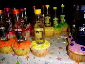 Favor Ideas For 21st Birthday by Colorful Cupcakes With Liquor Bottles For 21st Birthday