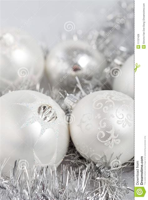 silver christmas baubles royalty free stock photos image