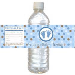 personalized water bottle labels baby shower blue brown baby shower bottle label polka dots boy baby