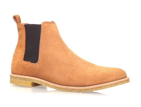 handmade mens light brown chelsea suede leather boots with