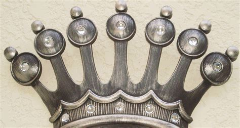 royal jeweled antiqued silver crown wall decor plaque set