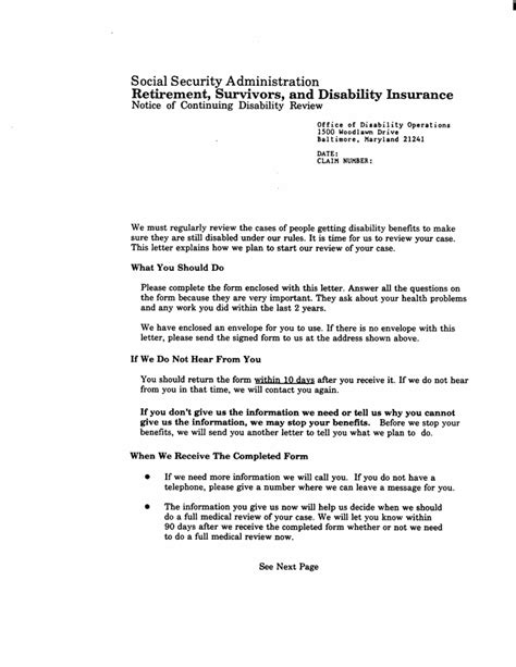 Social Security Claims Representative Cover Letter by Ssa Poms Nl 00705 350 Continuing Disability Review Cdr Cover Letter 08 24 1993