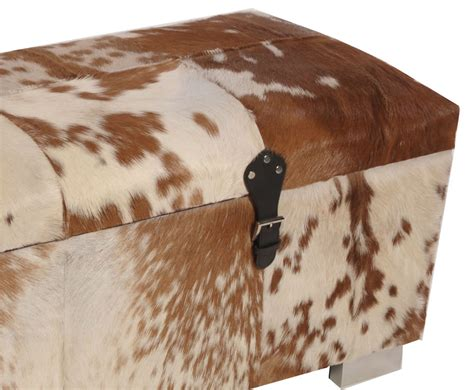 cowhide storage ottoman bette brown natural cowhide storage ottoman